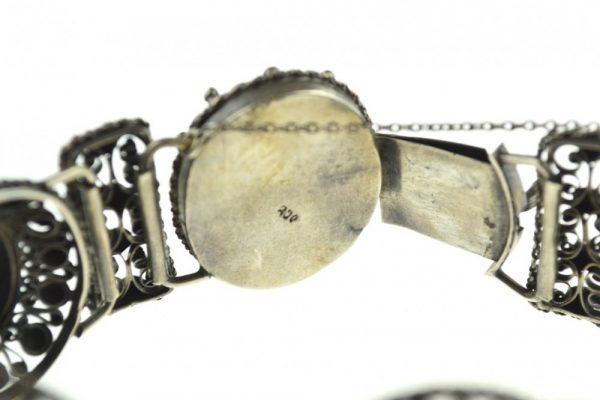 Bratara de argint stil Rococo, design elaborat, atelier german, anturaj malachit