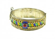 Bratara de argint berbera, traditionala Kabylia, bijuterie etnica algeriana