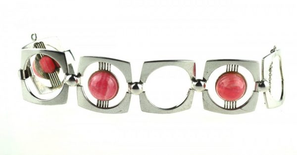 Bratara de argint masiva, cuart roz, creatie modernista, design minimalist, vintage