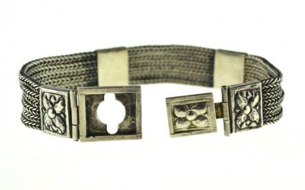 Bratara de argint veche, bijuterie traditionala Rajahstan, simbolistica tribala hindusa