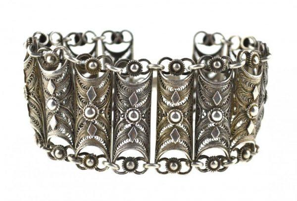 Bratara de argint filigran, perioada postbelica, Romania, vintage
