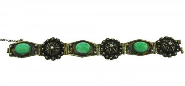 Bratara veche de argint filigranat, decorata pietre semipretioase jad, manufactura China