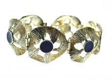 Bratara de argint decorata email albastru regal, design brutalist, vintage