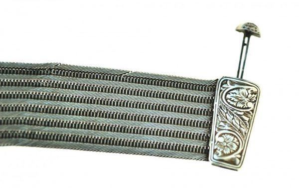 Bratara de argint model otoman, manufactura manuala antica, atelier Trabzon