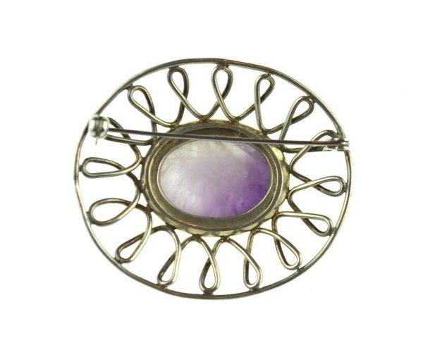 Brosa de argint minimalista, decorata ametist natural, design modern, vintage