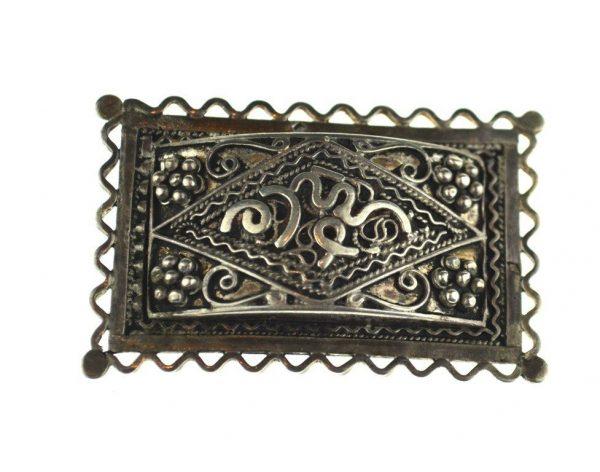 Brosa de argint berbera, bijuterie etnica Tunisia, inceput secol
