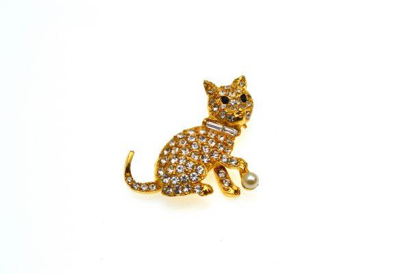 Brosa vintage Pell, placata aur, decorata cristale, casa bijuterii America