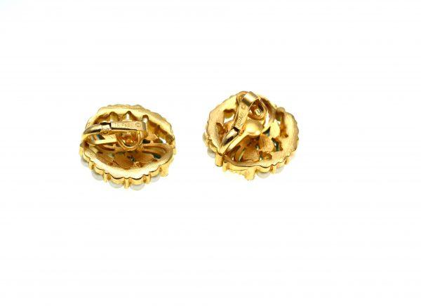 Cercei vintage, placati aur, decorati perle si turcoaze, semnati Trifari