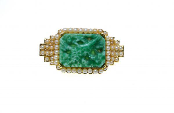 Brosa Exquisite vintage, decorata perle, faux jade, model retro, Anglia