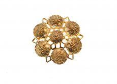 Brosa Sarah Coventry vintage, model floare, placat aur, colectie anii 1970