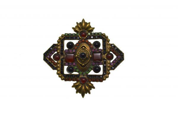 Brosa Sorrelli vintage, design baroque, decorata cu cristale Swarovski