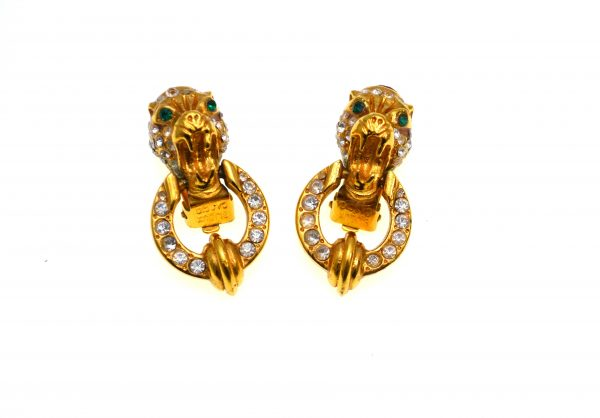 Cercei Bijoux Cascio vintage, placati aur, cristale decorative, Florenta