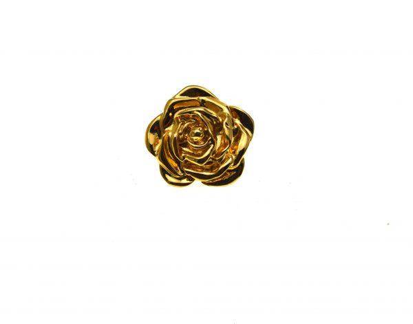 Brosa pin YSL vintage, placata aur, model tribut Coco Chanel, 1980