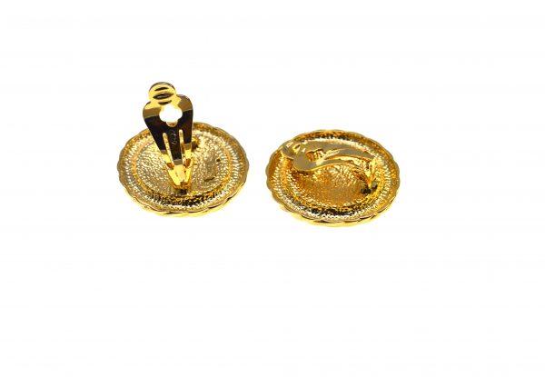 Cercei David Grau vintage, placati aur, decorati email, Barcelona