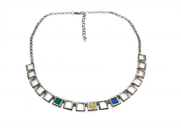 Colier Nina Ricci vintage, argintat, stil modern, baza gatului